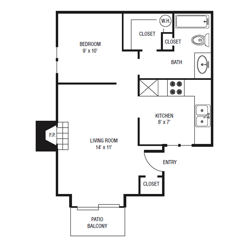 E1 - One Bedroom Efficiency - 492 Sq. Ft.*